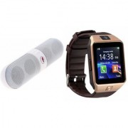 Zemini DZ09 Smartwatch and Facebook Pill Bluetooth Speaker for LG OPTIMUS IT(DZ09 Smart Watch With 4G Sim Card Memory Card| Facebook Pill Bluetooth Speaker)
