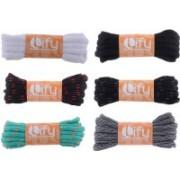 "Lify Oval / Half Round Shoelaces - 6MM (1/4"" Inch) Wide - Shoe Laces For All types of Shoes & Sneakers-White, Black, Black/ Red, Black/ Grey, Ocean blue, Baby Blue/ Orange & Black/White Lines - 120CM ( 47.25'' Inch) Long Shoe Lace(White, Black, Black/ Red"