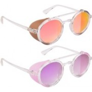 NuVew Round, Shield Sunglasses(Violet, Red, Golden)