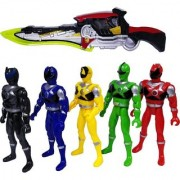 Emob Set of 5 Super Power Action Figure Toy Playset with Gun for Kids (Multicolor)