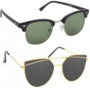 Elgator Over-sized Sunglasses(Green, Black)