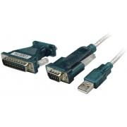 Cablu adaptor USB 2.0 la RS232, mufă tată USB A - mufe tată D-SUB 9 şi 25 pini, 1.20 m, negru, LogiLink UA0042A