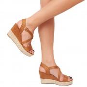 Sandale dama Scottie cu panza de iuta pe platforma, Maro 39