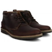 Clarks Edgewick Mid Brown Oily Boots For Men(Brown)