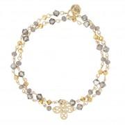 Oscar Bracelet double tour trèfle et perles grises (plaqué or), Oscar Bijoux Oscar