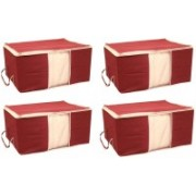 HOMMBAY Storage Organizer Foldable Storage Bag Organizers, Large Clear Window & Carry Handles, Great for Clothes, Blankets, Towels, Winter & Summer Clothing, Closets, Bedrooms, Under Bed Set of 4(Maroon)