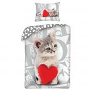 Lenjerie de pat din bumbac pentru copii Love Cat, 140 x 200 cm, 70 x 90 cm