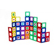 Playmags Magnetic Tile Building Set: EXCLUSIVE Educational Clickins - 80-Pc. Kit: 40 Super Strong Clear Color Magnet Tiles Windows & 40 Letters & Numbers - Stimulate Creativity & Brain Development