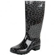 Merkloos Zwart/grijze dames regenlaarzen met giraffe vlekken 39 - Regenlaarzen