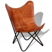vidaXL Krzesło motyl, brązowe, skóra naturalna