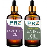 PRZ Combo Set of Lavender Oil & Tea Tree Essential Oil ( Each 15ml ) - Pure Natural & Therapeutic Grade Oil For Aromatherapy Body Massage Skin Care & Hair Care