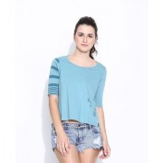 Cult Fiction Lite Blue Cotton Printed Three Quarter Length Tee For Women