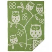 Klippan Yllefabrik Tree owl babyfilt ull green, klippan yllefabrik