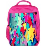Snoogg Eco Friendly Canvas Stars Colourful Pattern Backpack Rucksack School Travel Unisex Casual Canvas Bag Bookbag Satchel 5 L Backpack(Pink)