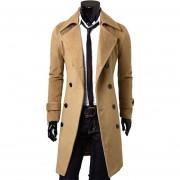 Hombre De Slim Fit Doble Botón Breasted Coat (Caqui)