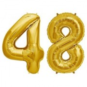 Stylewell Solid Golden Color 2 Digit Number (48) 3d Foil Balloon for Birthday Celebration Anniversary Parties