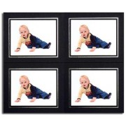 4x3 / 3x4 Black Strut Photo Mounts with Silver Aperture (4on)