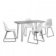 [en.casa] Mesa de comedor - aspecto de hormigón + Set de 4 x sillas - blanco - diseño - 82 x 46,5 x 56 cm