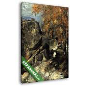 Paul Cézanne: Sziklák a Fountanbleu-i erdőben (20x25 cm, Vászonkép )