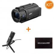 Kit Live Premium cu Sony Handycam FDR-AX43 4K + Placa de Captura + Microfon Podcast