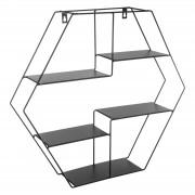 Raft de perete metalic forma hexagonala culoare neagra