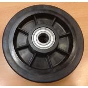 Gumi - Műanyag raklapemelő béka görgő átmérő: 170mm válaszható tengely átmérő: 17, 20, 25mm Műanyag felni és gumi futófelület