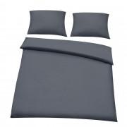 [neu.haus] Set Juego de cama 200x200cm gris oscuro + funda de almohada + funda