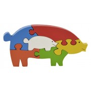 Skillofun Wooden Take Apart Puzzle Pig, Multi Color