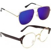 NuVew Round, Retro Square Sunglasses(Blue, Clear, Green)