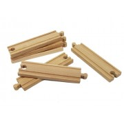 """Wooden Train Track Set: 6 Straight Tracks (6"""" Each) By Right Track Toys 100% Compatible With All Major Brands Including Thomas Wooden Railway System"""