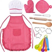 Bememo Kids Chef Set Children Cooking Play Kids Cook Costume with Utensils for Girls, 16 Pieces