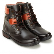 Crown Sapphire High Ankle Lace Up Casual Boots For Men (Brown 6 UK)