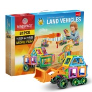 Joc Magnetic Educativ 3D Magspace Land Vehicles - 81 piese