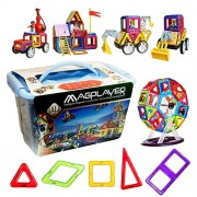 Magplayer Magplayer 156 Piece Special Boys Set 118 Blue Case + Doll Parts + Bulldozer Parts Mag For Maker MAGFORMERS Magnetic Block Toy Educational Toy Magnet Boy Puzzle Block Gift Present Gift Birthday Dementia Wrapping
