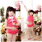 EW princesa de la gasa del color sólido de los bebés adorables dividir traje de baño rojo sandía L