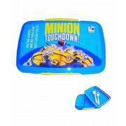 KP Kids minion touch down Click lock Big Lunch Box Sandwich Keeper Plastic Lunch Box For Kids (800ML colours &prints may vary)