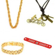Combo of Funky Biker Pendant Honey Singh Chain with Gold plated bracelet and leatherite red bracelet for young boys and men