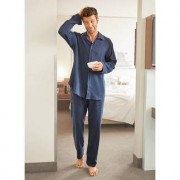 NOVILA Flanell-Pyjama, Herren, 50 - Blau meliert