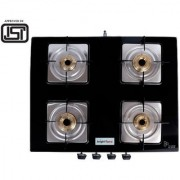 BrightFlame 4 Burner Tulip Glass Black Pan Support Square Dip Tray Gas Stove for LPG