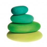 Houten stapelstenen, 4-delige set, Groene tinten