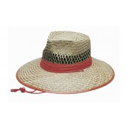Headwear Professional Natural Straw Orange Trim Cap S4261