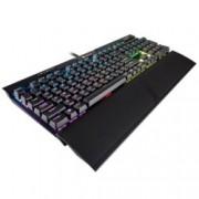 Клавиатура Corsair K70 RGB MK.2, гейминг, Cherry MX Red клавиши, подсветка, мултимедийни бутони, памет, черна, USB