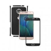 1 + 1 GRATUIT - Motorola Moto G5S Plus - Brushed Negru - Folie de protectie Carbon Skinz Husa Full Body Cover de tip Skin Adeziv pentru