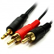 Jack 3.5 / 2 x RCA 2.5m kabel