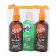 Malibu Dry Oil Spray confezione regalo olio secco abbronzante SPF15 100 ml + olio secco abbronzante SPF10 100 ml + gel doposole Aloe Vera 100 ml donna
