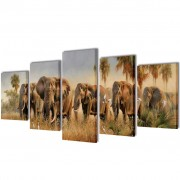 vidaXL Canvas Wall Print Set Elephants 100 x 50 cm