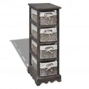 vidaXL Кафяв дървен стелаж с 4 плетени кошници за съхранение