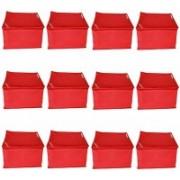 kanushi Industries Designer Non Woven Fabric Set of 12 Pcs Saree Cover/ Saree Bag / Storage Bag SC-BOX-01-RED(Red)