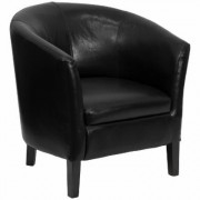 Flash Furniture Leather Barrel-Shaped Office Chair - Black with Black Legs, 28Inch W x 27.5Inch D x 30.5Inch H, Model GOS11BKBARREL