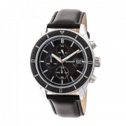 Breed Maverick Chronograph Leather-Band Watch w/Date - Silver/Black BRD7503
